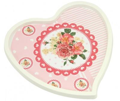 Kalp ve Çiçek Baskılı Kalp Şeklinde Melamin Tepsi Krem - Thumbnail