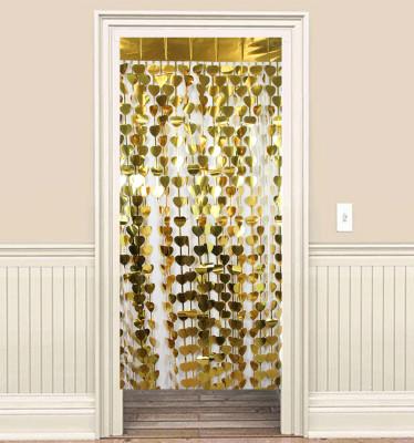 Diğer - Kalpli Folyo Kağıt Parlak Kapı Perdesi Sarı