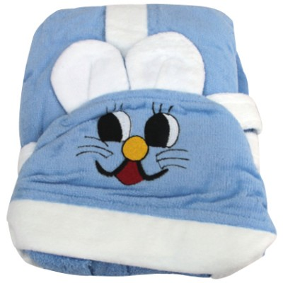 Diğer - Kapşonlu Tavşan Tasarımlı Çocuk Bornozu Mavi