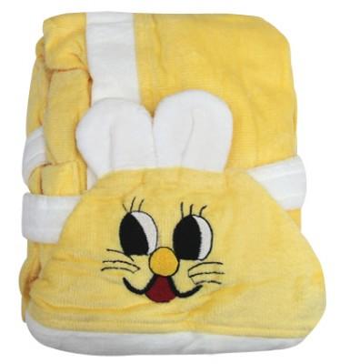 Diğer - Kapşonlu Tavşan Tasarımlı Çocuk Bornozu Sarı