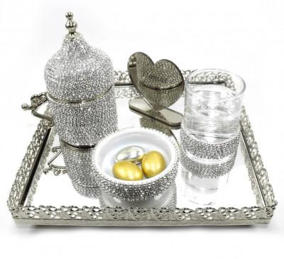 Diğer - Kare Jardinyer Tepsili Taşlı Damat Fincanı Seti Gümüş