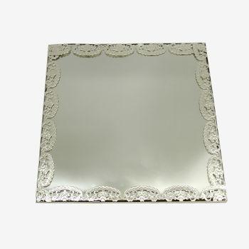 Kare Kenarları Süslü Aynalı Supla ve Yüzük Tepsisi Gümüş