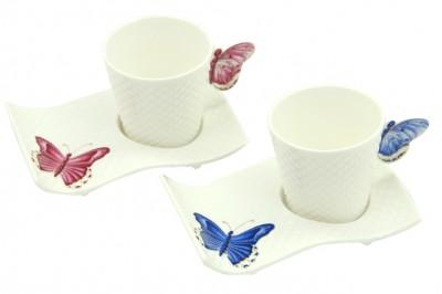 Diğer - Kelebekli Porselen Yuvarlak Kahve Fincan Takımı 2 Kişilik