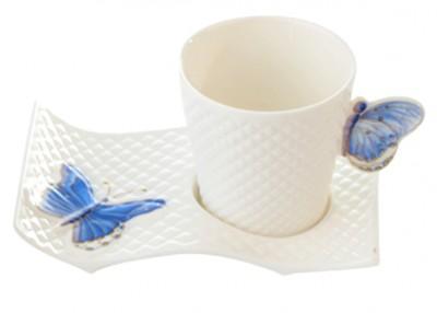 Diğer - Kelebekli Porselen Yuvarlak Kahve Fincan Takımı 6lı Mavi