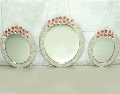 Diğer - Kenarları İncili Pembe Çiçek Süslemeli 3lü Oval Ayna Seti