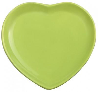 Keramika - Keramika Seramik Kalp Tabak Yeşil 20cm