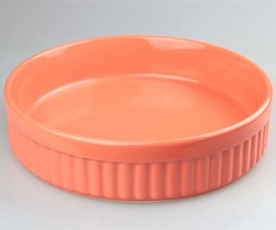 Keramika - Keramika Seramik Yuvarlak Fırın ve Servis Kabı Turuncu