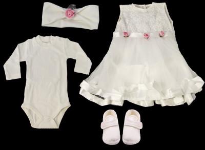 Petite Ponpon - Kız Bebek Pembe Çiçekli Mevlüt Takımı 4 Parça