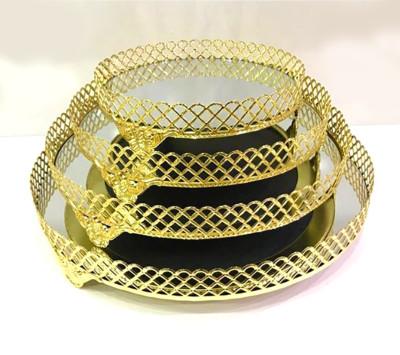 Diğer - Klasik Tasarım Aynalı Jardinyer Tepsi Gold 35cm