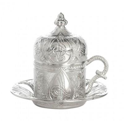 Diğer - Kubbe Kapaklı Tuğra Desenli Türk Kahvesi Fincanı Gümüş