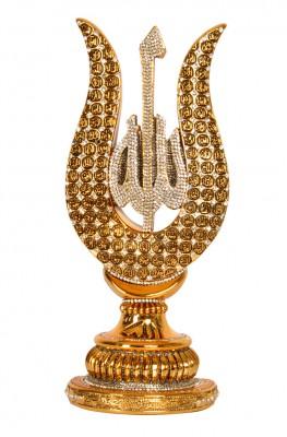 Diğer - Lale Tasarımlı Esmaül Hüsna Yazılı Swarovski Taşlı Lüks Biblo Gold 21cm