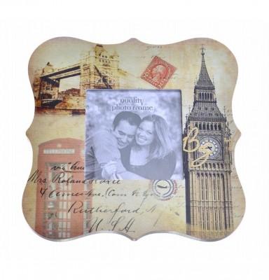 Decotown - Londra Temalı Ahşap Fotoğraf Çerçevesi 20x21cm