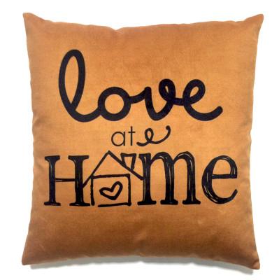 Diğer - Love at Home Yazılı Dekoratif Kırlent Kılıfı 43cm