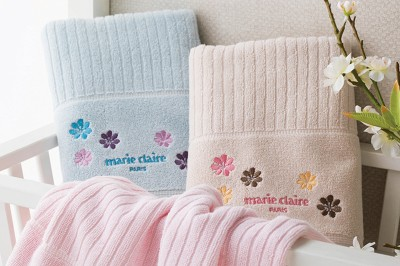 Marie Claire - Marie Claire Florale Banyo Havlusu Mavi 70x140