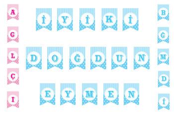 Mavi Renkli Puantiyeli Flama Bayrak Harfler
