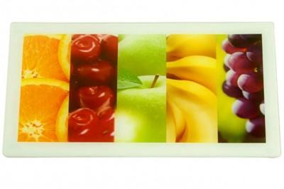 Diğer - Meyve Desenli Cam Dikdörtgen Kesme Panosu