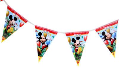 Diğer - Mickey Mouse Baskılı İyiki Doğdun Yazılı Parti Flama Bayrak