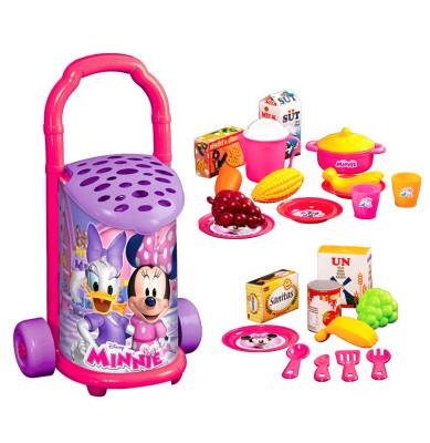 Diğer - Minnie Mouse Çek Çek Arabalı Pazar Arabası ve Erzak Seti 25 Parça