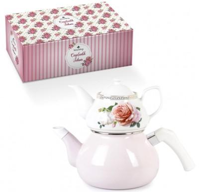 Diğer - Modern Tasarım Porselen Çiçek Motifli Çaydanlık Seti