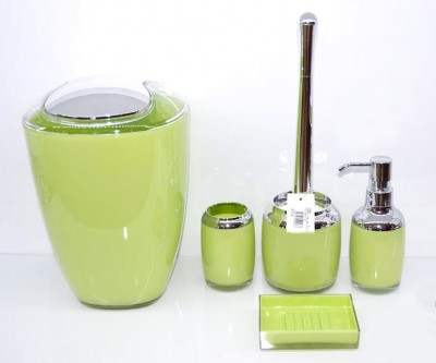 Diğer - Naturel 5li Çift Renk Çöp Kovalı Akrilik Banyo Seti Yeşil