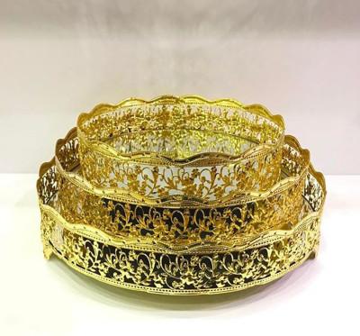 Diğer - Nergis Aynalı Yuvarlak Jardinyer Tepsi Gold 25cm