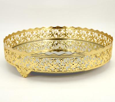 Diğer - Nergis Aynalı Yuvarlak Jardinyer Tepsi Gold 30cm