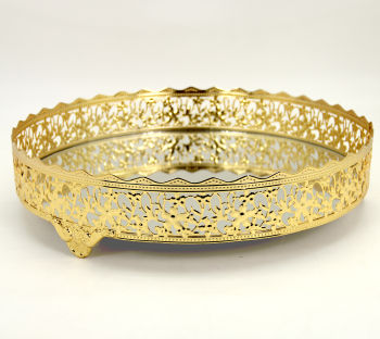 Nergis Aynalı Yuvarlak Jardinyer Tepsi Gold 30cm