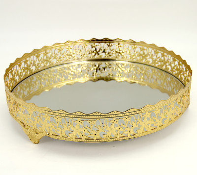 Nergis Aynalı Yuvarlak Jardinyer Tepsi Gold 30cm - Thumbnail