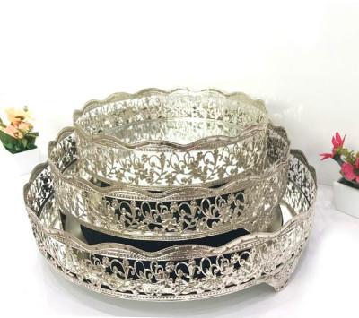Diğer - Nergis Aynalı Yuvarlak Jardinyer Tepsi Gümüş 35cm