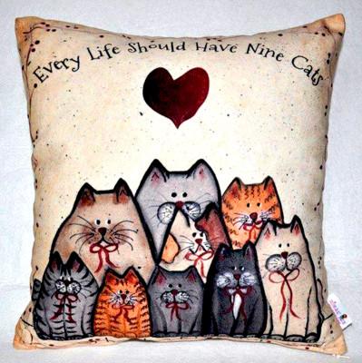 Diğer - Nine Cats Dekoratif Kırlent Kılıfı 43cm