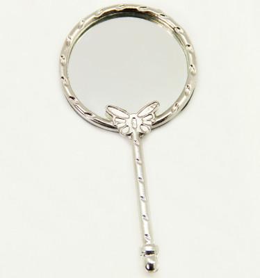 Diğer - Nişan ve Kına Hediyeliği Kelebekli Metal Mini El Aynası Gümüş