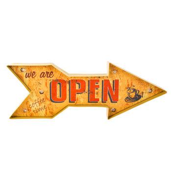 Open Yazılı Ok Şeklinde Ledli Metal Pano 50cm