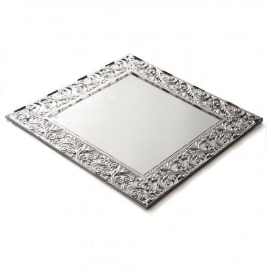 Diğer - Otantik Desenli Kare Aynalı Supla ve Yüzük Tepsisi Gümüş