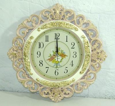 Diğer - Oymalı Altın Desenli Yuvarlak Duvar Saati Pembe 45cm