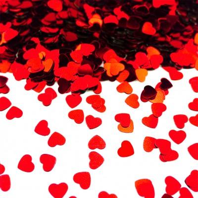 Diğer - Parlak Kalp Masa Üstü Serpme Konfeti Kırmızı
