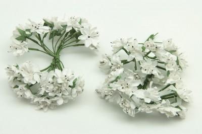 Diğer - Pıtırcıklı Kağıt Çiçek Bebek ve Nikah Şekeri Süsü 144 Adet Beyaz