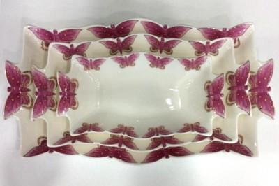 Diğer - Porselen Kenarları Kelebekli Dikdörtgen Servis Tabağı 3lü Set