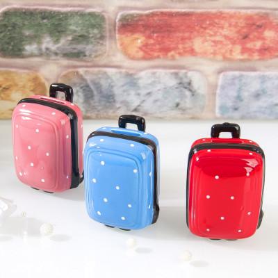 Diğer - Puantiyeli Bavul Tasarımlı Seramik Kumbara Asorti