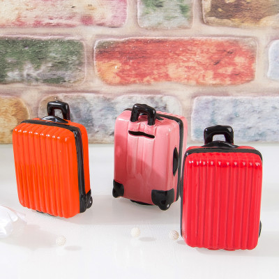Diğer - Renkli Bavul Tasarımlı Seramik Kumbara Asorti