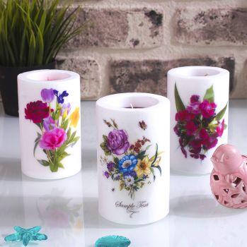 Renkli Çiçek Desenli Dekoratif Mum Beyaz 7x12cm