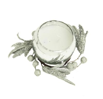 Diğer - Renkli ve Kokulu Dekoratif Bardak Mum Gümüş