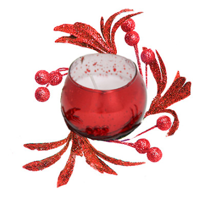 Diğer - Renkli ve Kokulu Dekoratif Bardak Mum Kırmızı