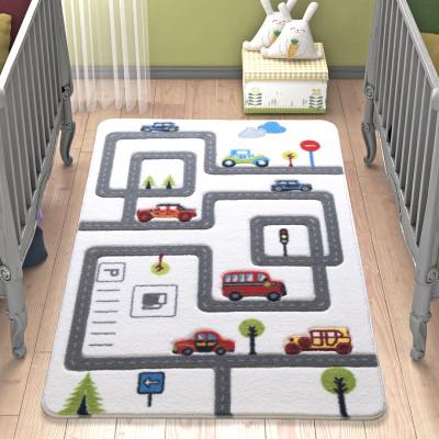 Diğer - Roads Araba Yolu Desenli Çocuk ve Bebek Odası Halısı Gri 100x150cm