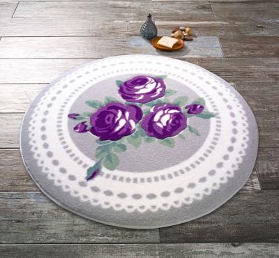 Confetti - Rose Bud Mor Gül Desenli Yuvarlak Banyo Halısı Gri 67cm