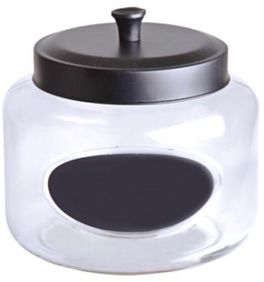 Royal Windsor - Royal Windsor Cam Silindirik Siyah Metal Kapaklı Küçük Boy Bakliyat Kavanozu