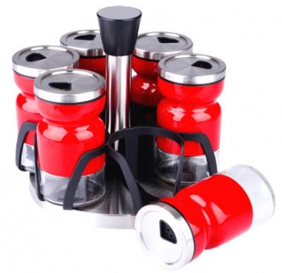 Royal Windsor - Royal Windsor Döner Standlı Metal Giydirme Baharatlık Seti 6li Kırmızı