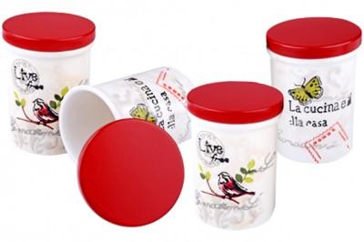 Royal Windsor - Royal Windsor Kuş Desenli Kırmızı Kapaklı Baharatlık 4lü
