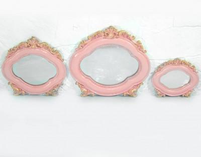 Diğer - Saray 3lü Oval Duvar Aynası Seti Pembe