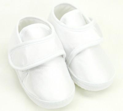 Diğer - Saten Kaydırmaz Tabanlı Süslenebilir 1 Yaş Bebek Patiği Beyaz