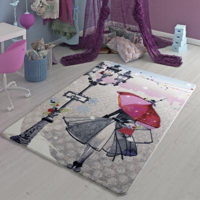 Diğer - Şemsiyeli Kız Tasarımlı Kız Çocuk Odası Halısı Gri 133x190cm